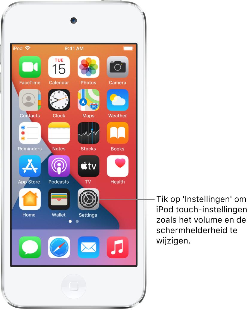 Het beginscherm met diverse appsymbolen, zoals het symbool van de Instellingen-app, waarop je kunt tikken om het volume, de schermhelderheid en andere iPodtouch-instellingen te wijzigen.