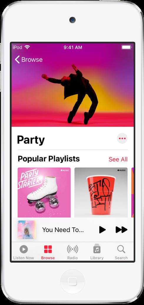 Het scherm 'Ontdek' van AppleMusic met Party-afspeellijsten.