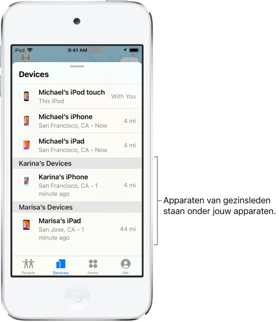 Het tabblad 'Apparaten' in Zoekmijn. Boven aan de lijst staan Michaels apparaten. Onderaan staan de iPhone van Karina en de iPad van Marisa.