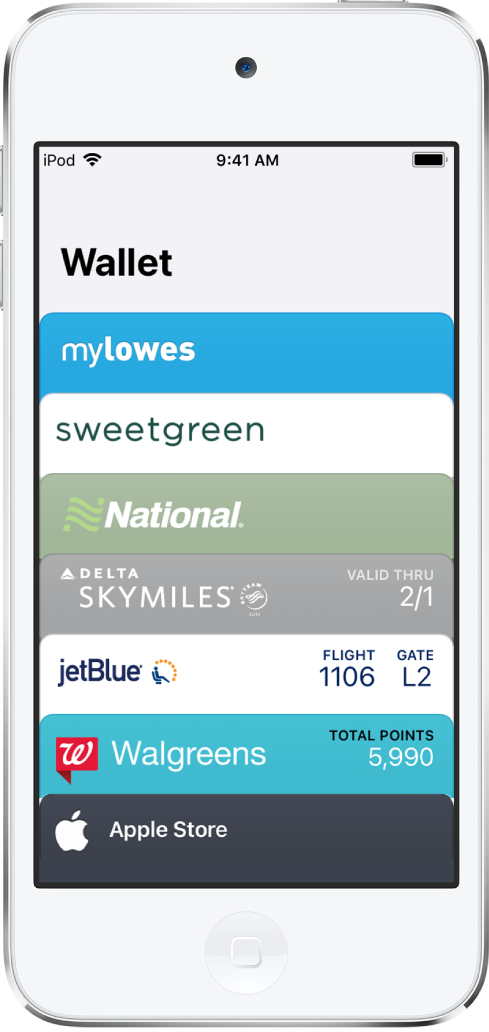 Het Wallet-scherm met de bovenkanten van diverse kaarten. Tik op een kaart of pasje om meer informatie weer te geven.