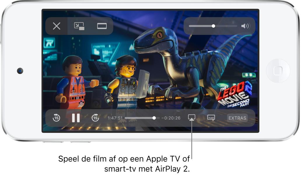 Een film die wordt afgespeeld op het iPodtouch-scherm. Onder in het scherm zie je de afspeelregelaars, met rechtsonderin de knop voor synchrone weergave.
