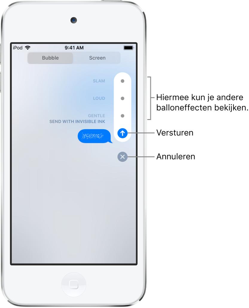 Een voorvertoning van een bericht met het onzichtbare-inkteffect. Tik rechts op een knop om een voorvertoning te zien van andere balloneffecten. Tik nogmaals op dezelfde knop om het bericht te versturen of tik op de annuleerknop om terug te gaan naar je bericht.