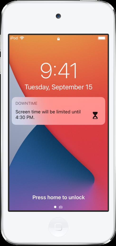 Het iPodtouch-toegangsscherm met een melding van 'Apparaatvrije tijd' dat de schermtijd tot 16:30uur is beperkt.