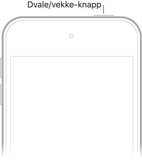 Forsiden av iPodtouch med Dvale/vekke-knappen på øverste høyre kant.