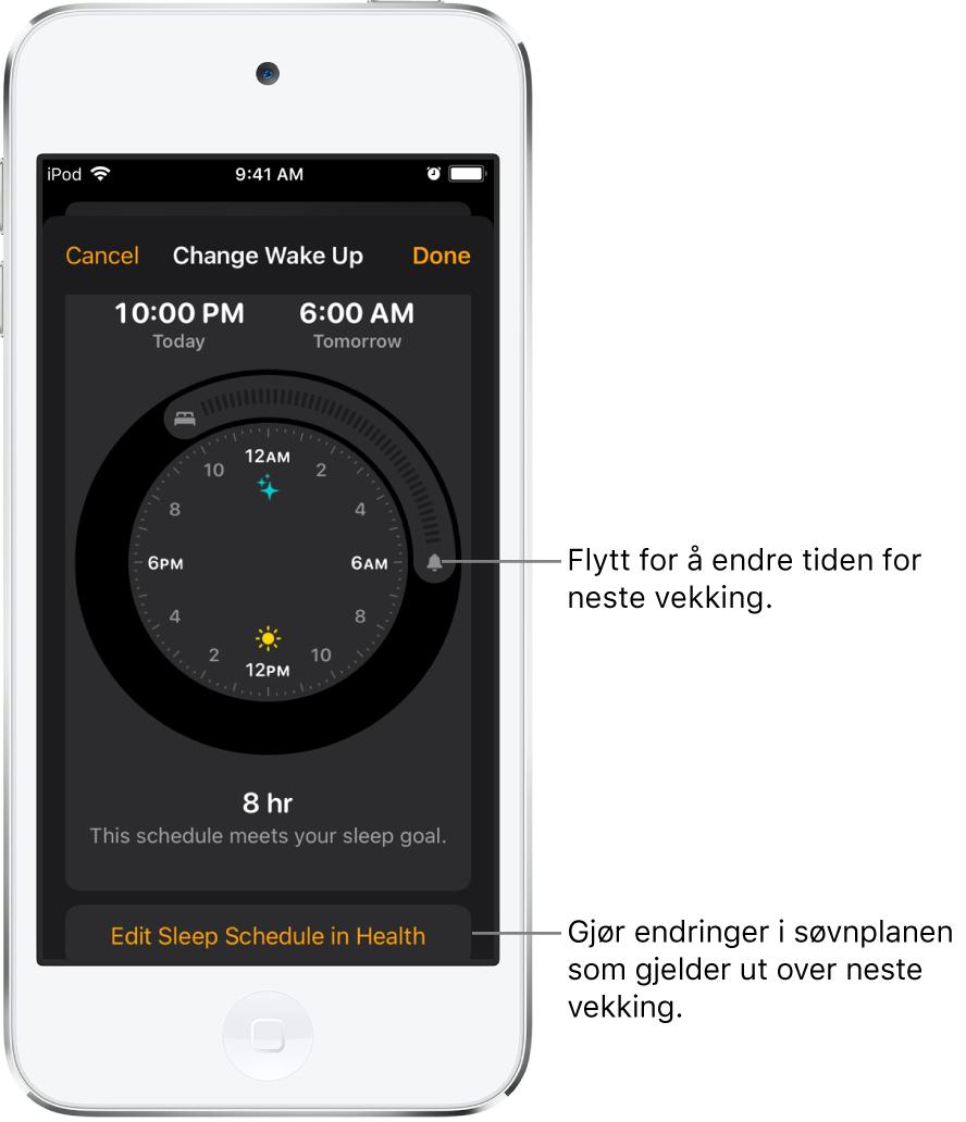 En skjerm for å endre Vekking-alarmen for i morgen, med skyveknapper for å endre leggetids- og vekkingstidspunktet og en knapp for å endre søvnplanen i Helse-appen.