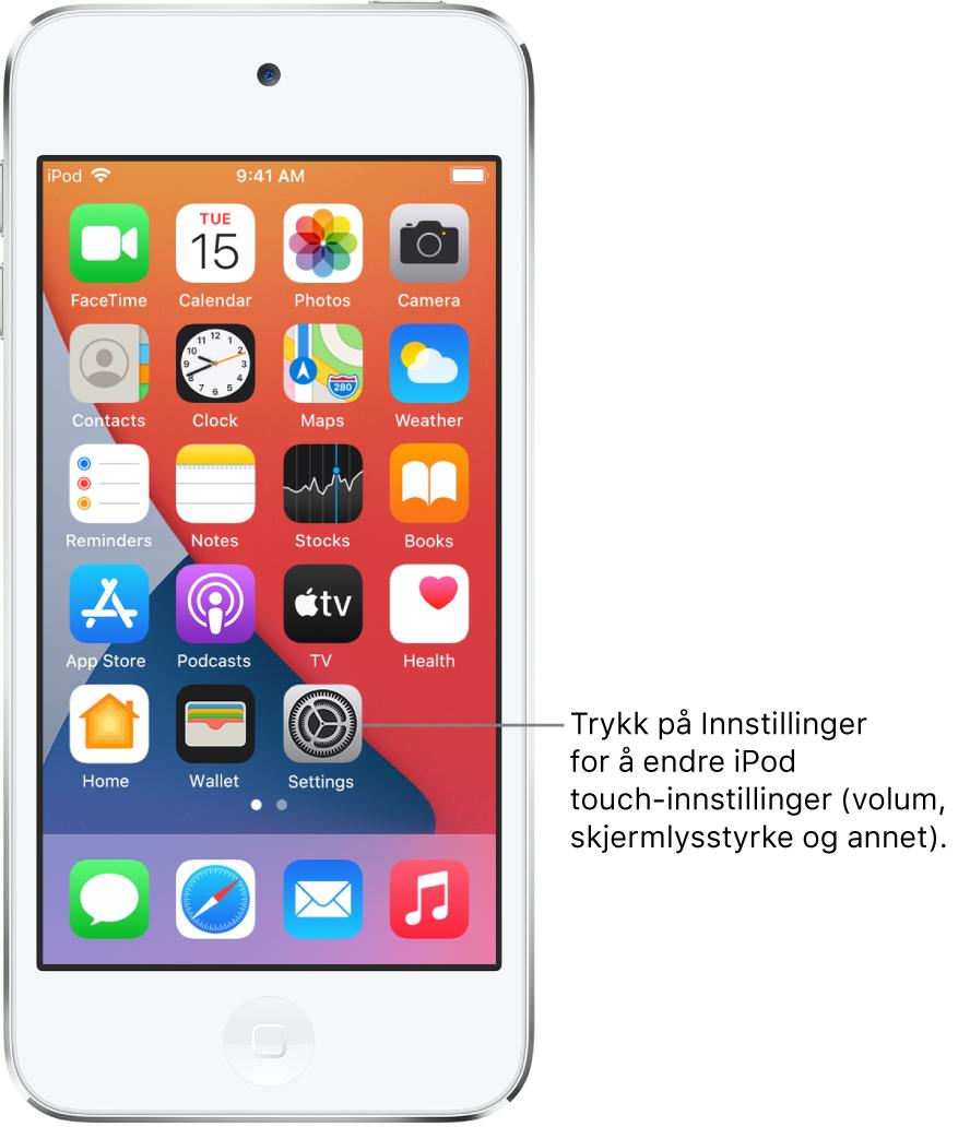 Hjem-skjermen med flere appsymboler, inkludert Innstillinger-symbolet, som du kan trykke på for å endre lydvolumet, lysstyrken på skjermen og annet på iPodtouch.