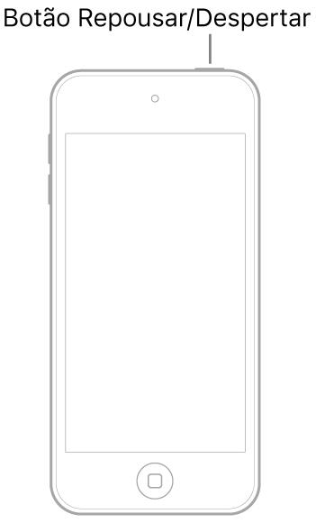 Ilustração do iPodtouch com a tela virada para cima. O botão Repousar/Despertar é mostrado na parte superior do iPodtouch.