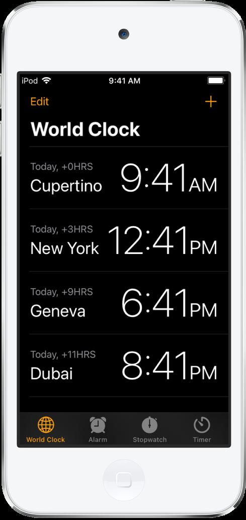 A aba Relógio, mostrando a hora em várias cidades. Toque em Editar no canto superior esquerdo para ordenar os relógios. Toque no botão Adicionar na parte superior direita para adicionar outros relógios. Os botões Relógio, Alarme, Cronômetro e Timer estão ao longo da parte inferior.