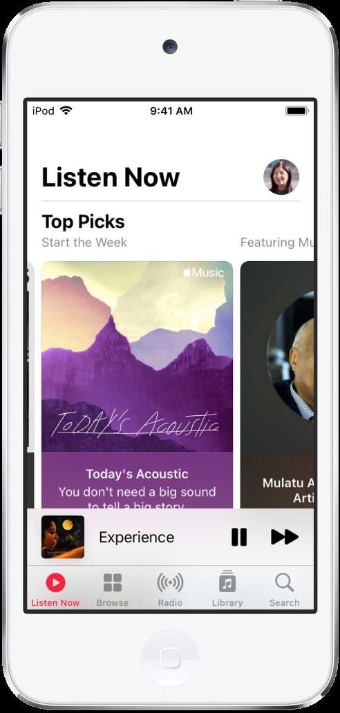A tela Ouvir Agora mostrando o botão de perfil na parte superior direita. As playlists de Top Picks aparecem abaixo.