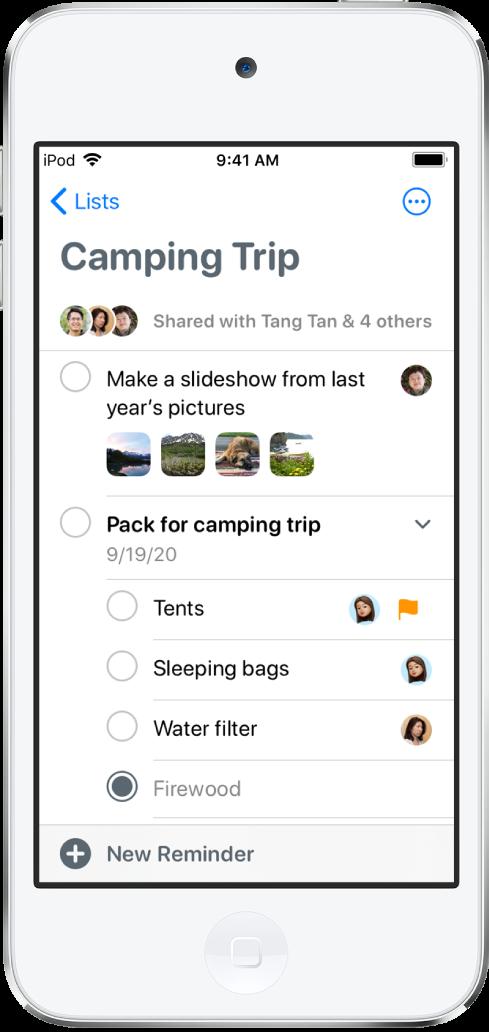 Uma tela dos Lembretes mostrando uma lista de lembretes. O botão Novo Lembrete está na parte inferior esquerda.