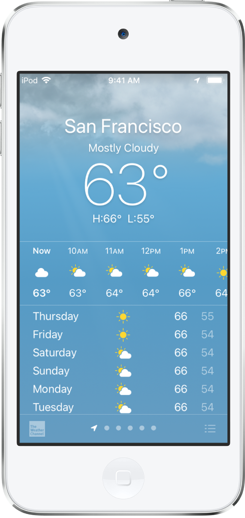 Tela do Tempo mostrando a localização, a temperatura atual e as temperaturas máxima e mínima do dia. Abaixo está a previsão horária seguida pela previsão dos próximos 5 dias. Uma linha de pontos na parte inferior central mostra quantos lugares há na lista de lugares. No canto inferior direito encontra-se o botão Editar Cidades.