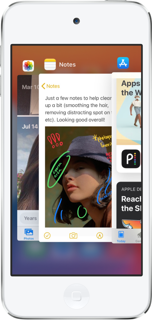 แถบสลับแอพ ไอคอนสำหรับแอพที่เปิดอยู่แสดงที่ด้านบนสุด และหน้าจอปัจจุบันของแอพแต่ละแอพแสดงด้านล่างไอคอนของแอพนั้น