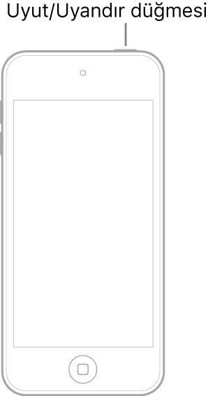 Ekranı yukarı bakan bir iPod touch resmi. Uyut/Uyandır düğmesi iPod touch'ın en üstünde gösteriliyor.