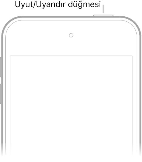 Uyut/Uyandır düğmesi olan iPod touch'ın önü.