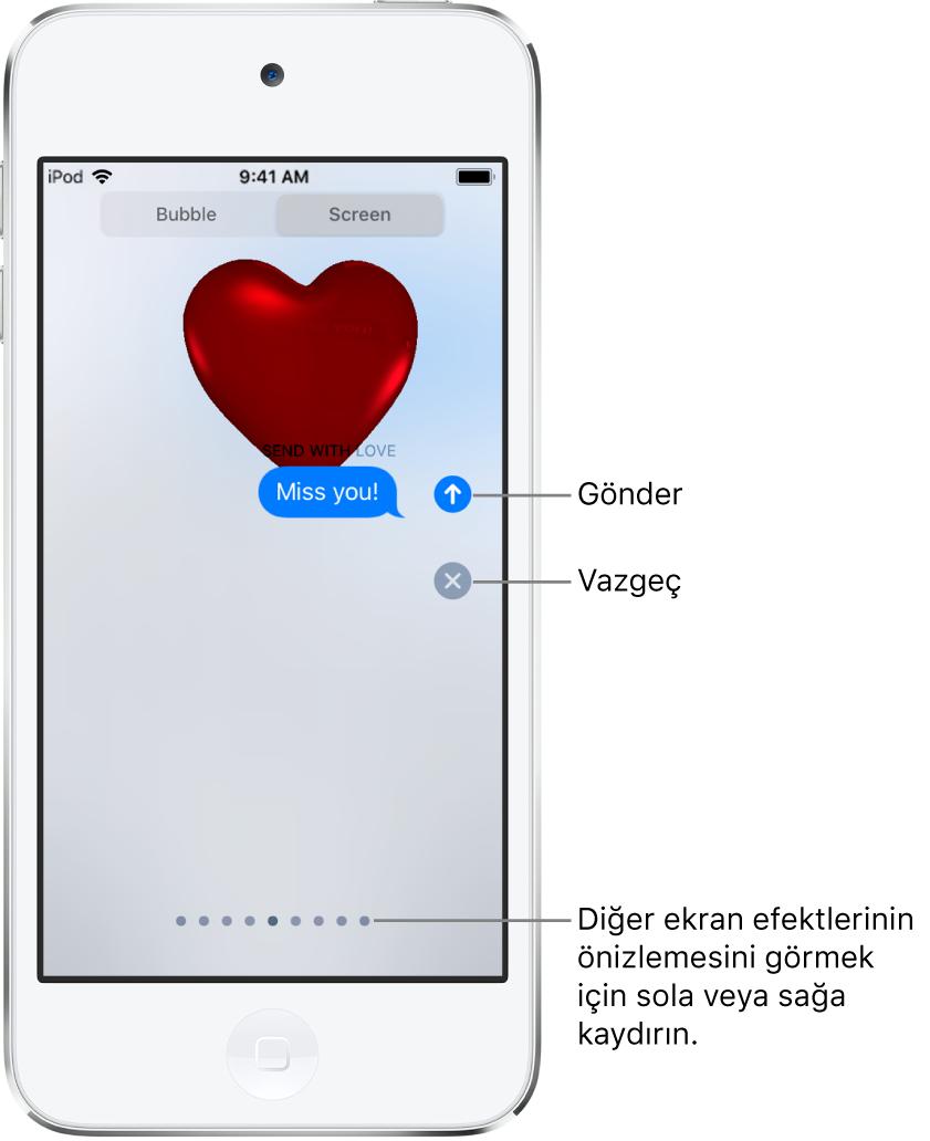 Kırmızı bir kalple tam ekran efektinin gösterildiği bir mesaj önizlemesi.
