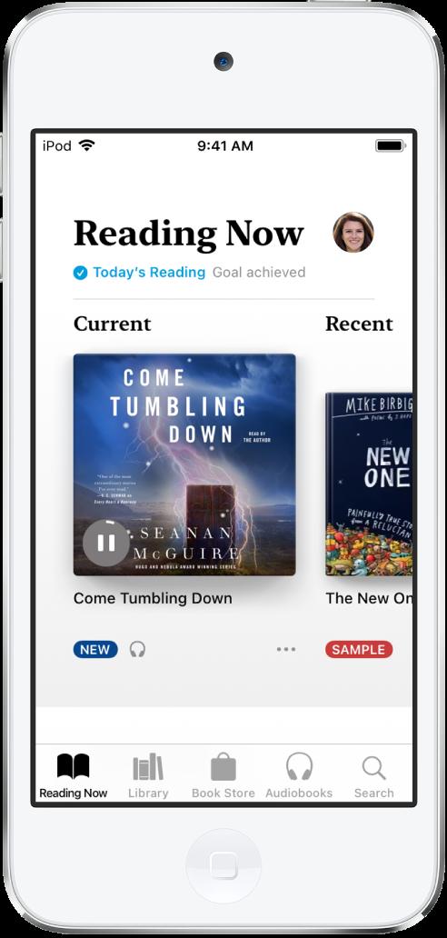 Kitaplar uygulamasında Şu An Okunan sekmesi seçili. Ekranın alt kısmında soldan sağa Şu An Okunan, Kitaplık, Kitapçı, Sesli Kitaplar ve Ara sekmeleri var.