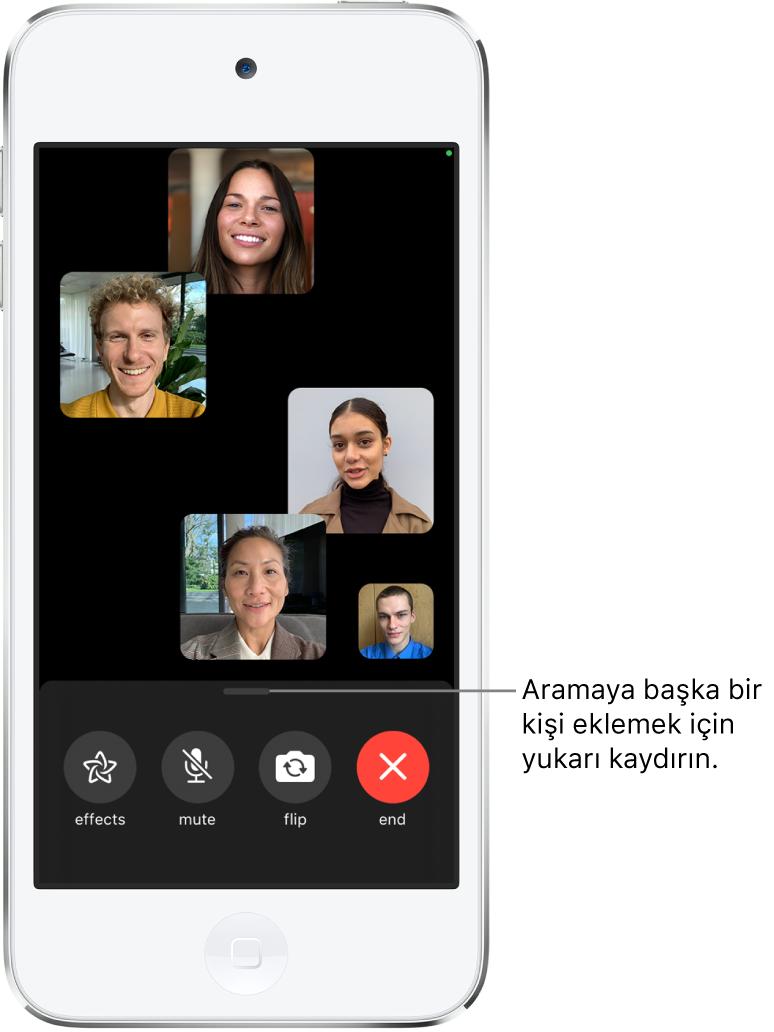 FaceTime aramasını başlatan kişi de dahil olmak üzere beş katılımcıdan oluşan bir grup FaceTime araması. Her katılımcı ayrı bir karede görünür. Ekranın alt tarafında efektler, sesi kapat, çevir ve bitir denetimleri var.