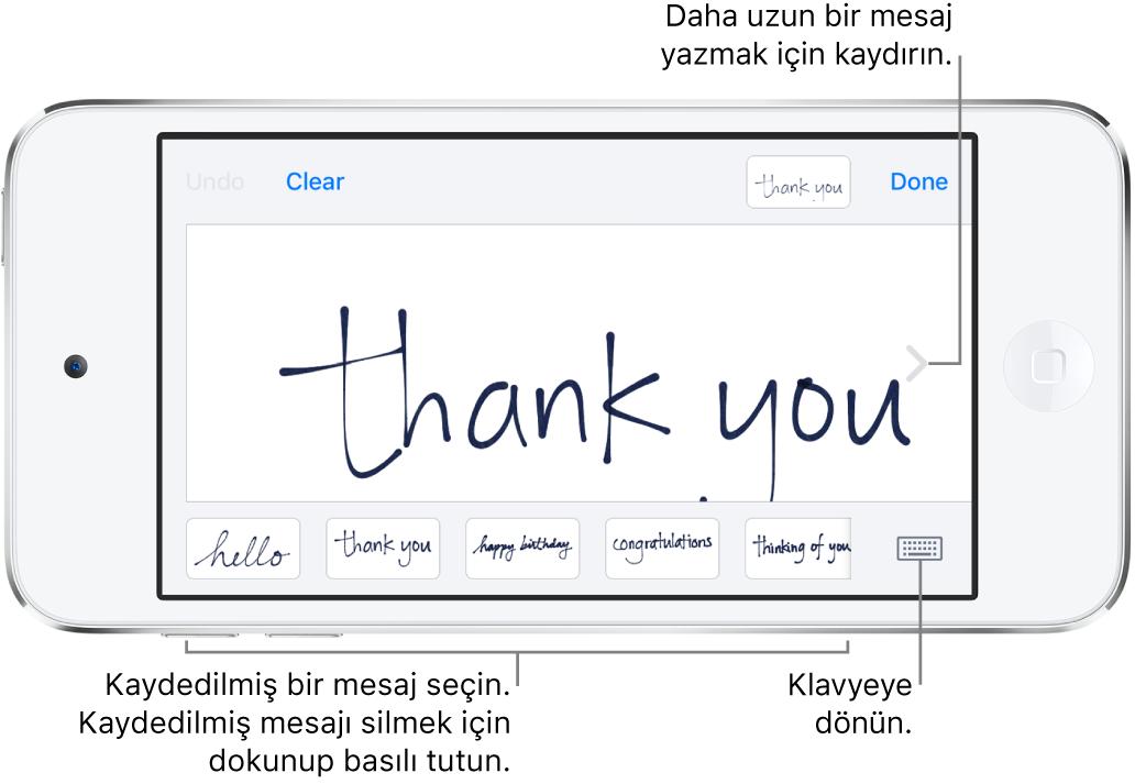 El yazısı mesajının olduğu el yazısı ekranı. Alt tarafta soldan sağa doğru kaydedilen mesajlar ve Klavyeyi Göster düğmesi bulunuyor.