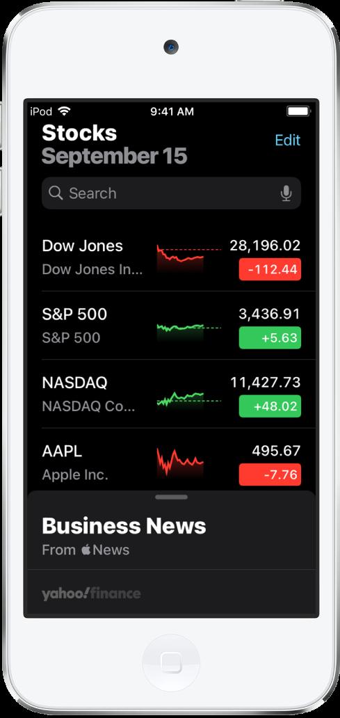 Danh sách theo dõi đang hiển thị danh sách các chứng khoán khác nhau. Từng chứng khoán trong danh sách hiển thị, từ trái sang phải là tên và mã chứng khoán, biểu đồ hiệu quả, giá chứng khoán và thay đổi giá. Ở đầu màn hình, phía trên danh sách theo dõi, là trường tìm kiếm. Bên dưới danh sách theo dõi là Tin tức kinh doanh. Vuốt lên trên Tin tức kinh doanh để hiển thị các tin tức.