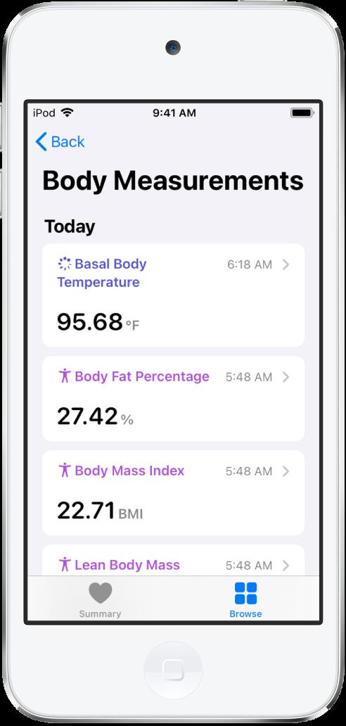 Một màn hình chi tiết cho danh mục Số đo cơ thể.