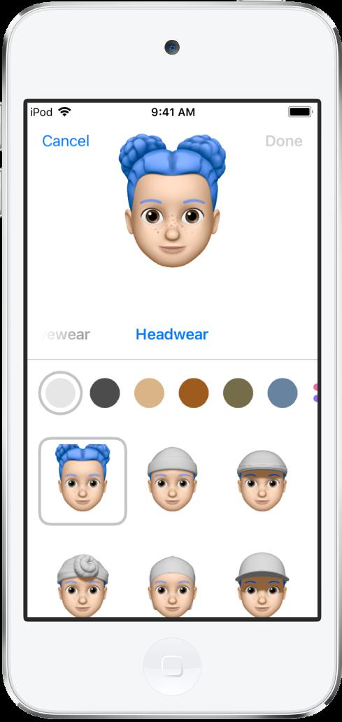 Màn hình tạo Memoji, đang hiển thị nhân vật đang được tạo ở trên cùng, các đặc điểm để tùy chỉnh ở bên dưới nhân vật, sau đó bên dưới là các tùy chọn cho các đặt điểm được chọn. Nút Xong nằm ở trên cùng bên phải và nút Hủy nằm ở trên cùng bên trái.