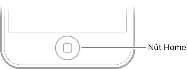 Nút Home ở phần dưới cùng của iPod touch.