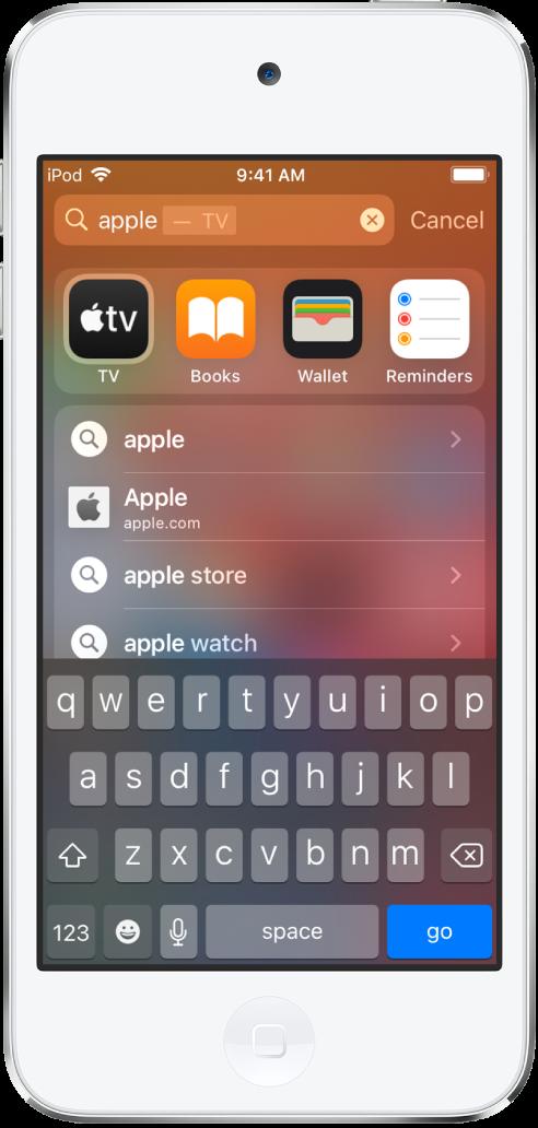 """Màn hình đang hiển thị một lệnh tìm kiếm trên iPodtouch. Ở trên cùng là trường tìm kiếm với văn bản tìm kiếm """"apple"""" và bên dưới là các kết quả tìm kiếm được tìm thấy cho văn bản đích."""