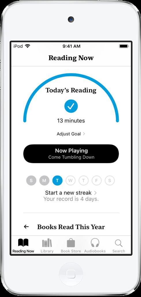 「閱讀中」裡的「閱讀目標」部分。閱讀計時器顯示已完成目標 10 分鐘裡的 6 分鐘。計數器下方是「繼續加油」按鈕、圓圈顯示星期、星期日到星期六。星期二的圓圈包含顯示當天進度的藍色外框。