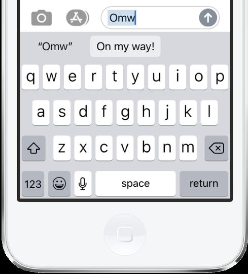訊息上輸入文字輸入碼 OMY 並在下方顯示字詞「On my way!」建議作為替代文字。