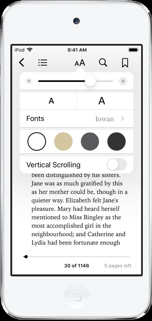 外觀選單由上至下顯示亮度、字體大小、字體、頁面顏色和捲動顯示方式的控制項目。