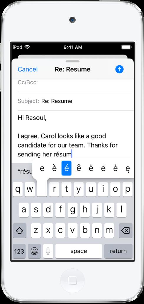 畫面顯示正在編寫電子郵件。鍵盤已打開並顯示「e」鍵的替代字元。