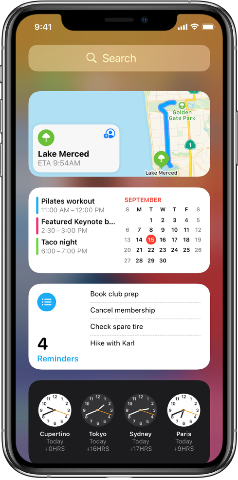 Инструменти в Today View (Днес), включващи инструменти за Maps (Карти), Calendar (Календар), Reminders (Напомняния) и Clock (Часовник).