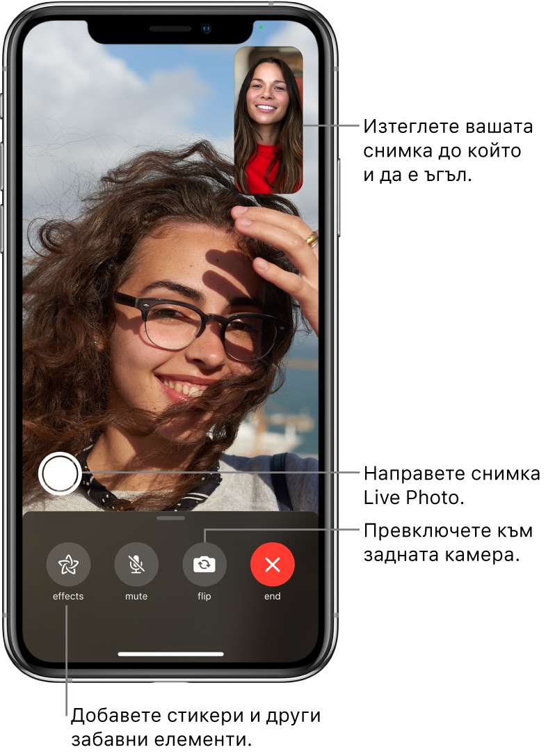 Екран на FaceTime, показващ активен разговор. Вашето изображение се появява в малък правоъгълник горе вдясно, а изображението на другия човек запълва останалата част от екрана. В долния край на екрана са бутоните Effects (Ефекти), Mute (Без звук), Flip (Обратно) и End (Край). Над тях е бутонът за снимка LivePhoto.