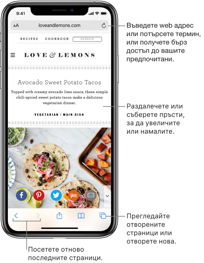Web сайт, отворен в Safari, с полето за адреса в горния край. В долния край, отляво надясно са бутоните Back (Назад), Forward (Напред), Share (Споделяне), Bookmarks (Отметки) и Pages (Страници).
