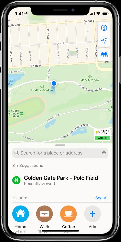 Карта на парк и три любими места, показани в долния край на екрана. Любимите са Home (Дом), Work (Работа) и Coffee (Кафе).