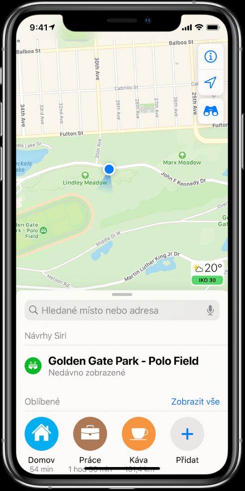 Mapa parku se třemi oblíbenými místy vdolní části obrazovky: Domov, Práce aKavárna