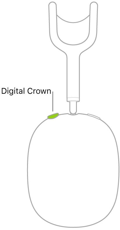 En illustration, der viser placeringen af Digital Crown på den højre hovedtelefon til AirPods Max.