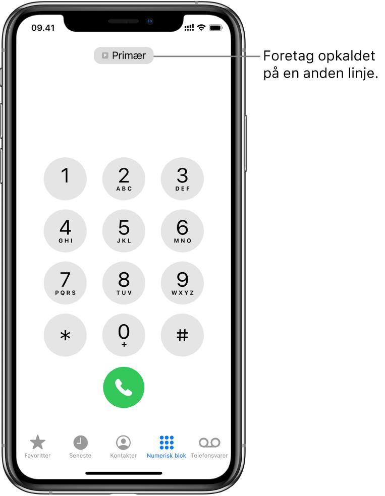 Telefontastaturet. Langs bunden af skærmen er fanerne fra venstre mod højre Favoritter, Seneste, Kontakter, Numerisk blok og Telefonsvarer.