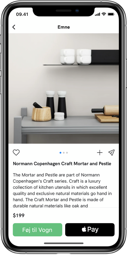 En app, som viser en betalingsskærm med knappen Køb med ApplePay.
