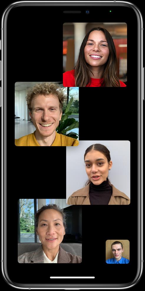 Et FaceTime-gruppeopkald med fem deltagere inklusive initiativtageren. Hver deltager vises i en brik for sig.