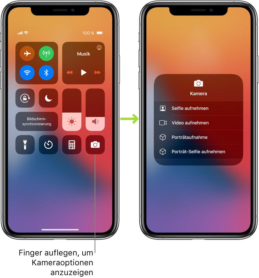 """Zwei Bildschirme mit dem geöffneten Kontrollzentrum nebeneinander: Auf dem Bildschirm links sind in der oberen linken Gruppe die Steuerelemente """"Flugmodus"""", """"Mobile Daten"""", """"WLAN"""" und """"Bluetooth"""" zu sehen. Außerdem ist der Hinweis zu sehen, dass durch Auflegen des Fingers auf das Symbol """"Kamera"""" unten rechts Optionen für die Kamera eingeblendet werden können. Auf dem Bildschirm rechts sind diese zusätzlichen Optionen für die Kamera zu sehen: """"Selfie aufnehmen"""", """"Video aufnehmen"""", """"Porträtaufnahme"""" und """"Porträt-Selfie aufnehmen""""."""