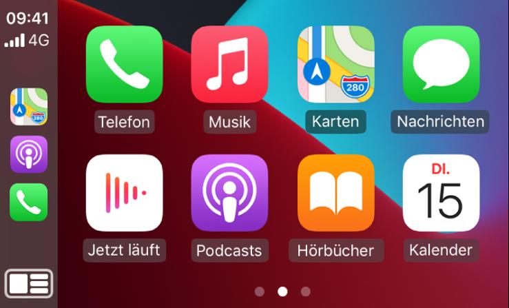 """Der CarPlay Home-Bildschirm mit Symbolen für die Apps """"Telefon"""", """"Musik"""", """"Karten"""", """"Nachrichten"""", """"Jetzt läuft"""", """"Podcasts"""", """"Hörbücher"""" und """"Kalender""""."""