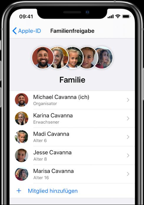 """Der Bildschirm """"Familienfreigabe"""" in der App """"Einstellungen"""". Die Liste umfasst fünf Familienmitglieder und unten ist die Option """"Mitglied hinzufügen"""" zu sehen."""