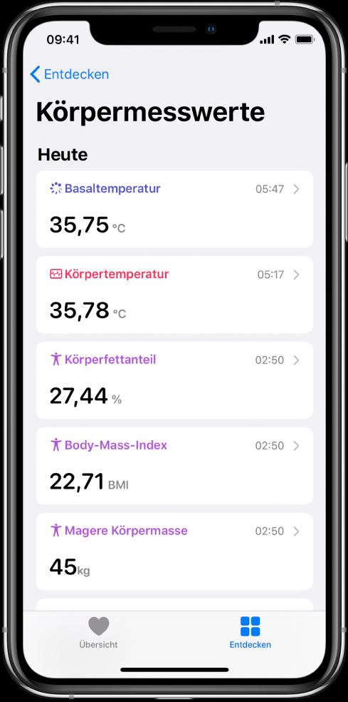 """Ein Bildschirm mit Details der Kategorie """"Körpermesswerte""""."""