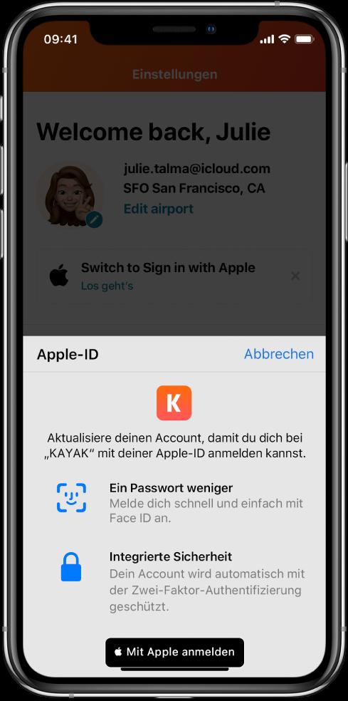 """Eine App, in der die Taste """"Mit Apple anmelden"""" angezeigt wird."""