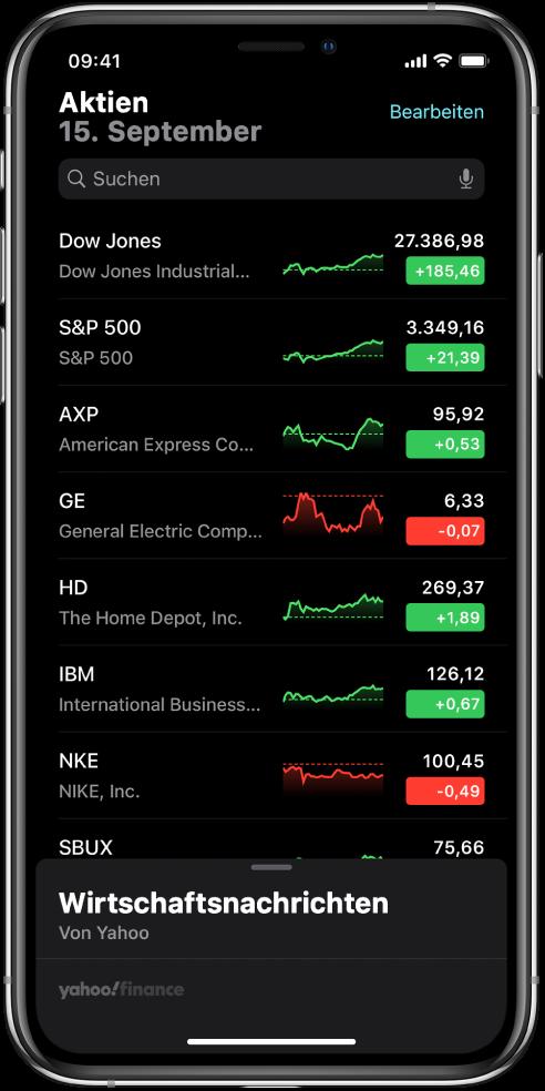 Eine Aktienliste enthält verschiedene Aktien. Jede Aktie in der Liste zeigt von links nach rechts das Aktiensymbol und den Namen der Aktie, ein Entwicklungsdiagramm, den Aktienkurs und Kursänderungen. Oben im Bildschirm wird über der Aktienliste das Suchfeld angezeigt. Unter der Aktienliste befinden sich die neuesten Informationen aus der Geschäftswelt. Streiche darauf nach oben, um Storys anzuzeigen.