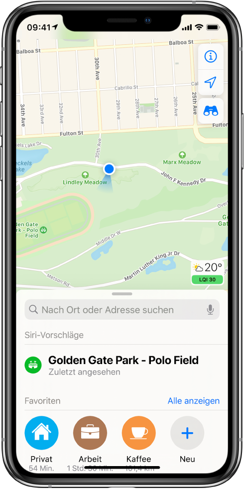 """Die Karte eines Parks und drei Favoriten am unteren Bildschirmrand. Die Favoriten sind """"Zuhause"""", """"Büro"""" und """"Kaffee""""."""
