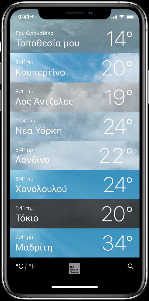 Μια λίστα πόλεων όπου φαίνεται η ώρα και η τρέχουσα θερμοκρασία για καθεμία.