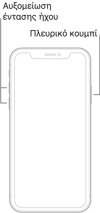 Εικόνα ενός μοντέλου iPhone χωρίς κουμπί Αφετηρίας, με την οθόνη γυρισμένη προς τα πάνω. Τα κουμπιά αύξησης και μείωσης της έντασης ήχου βρίσκονται στην αριστερή πλευρά της συσκευής και ένα πλευρικό κουμπί βρίσκεται στη δεξιά πλευρά.