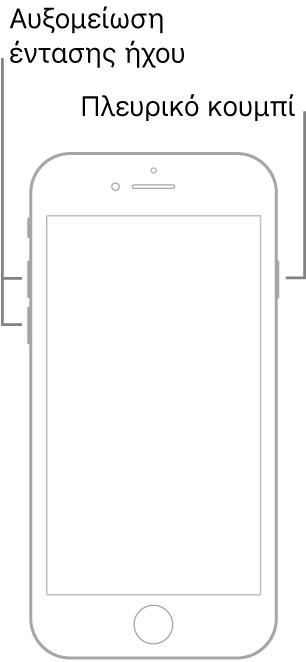 Εικόνα ενός μοντέλου iPhone με κουμπί Αφετηρίας, με την οθόνη γυρισμένη προς τα πάνω. Τα κουμπιά αύξησης και μείωσης της έντασης ήχου βρίσκονται στην αριστερή πλευρά της συσκευής και ένα πλευρικό κουμπί βρίσκεται στη δεξιά πλευρά.